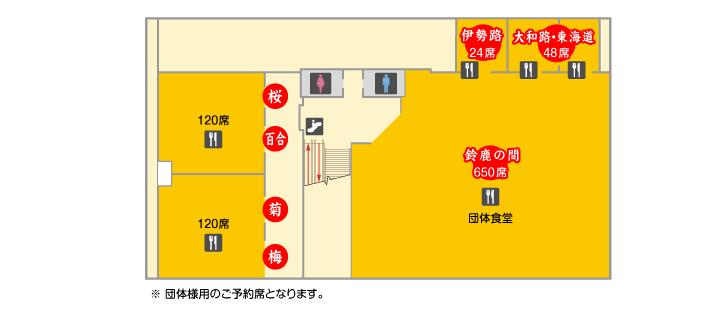 2F お土産物・レストラン館内マップ